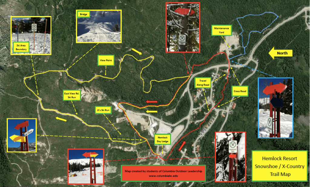 A map showing the Sasquatch Mountain snowshoe trails