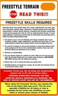 Freestyle terrain park required skills safety sign