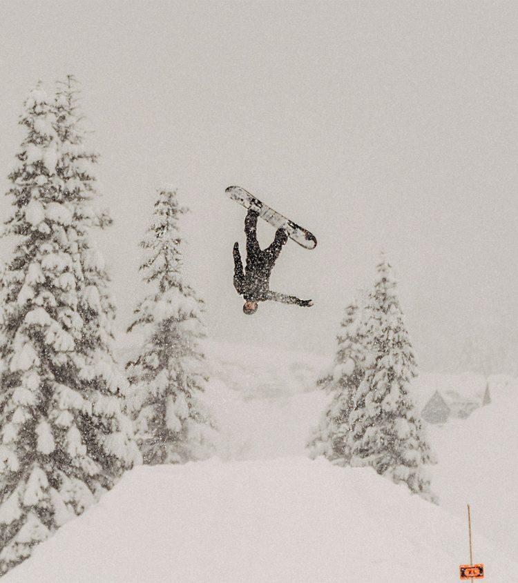 Terrain park event, snowboarder at Sasquatch Mountain