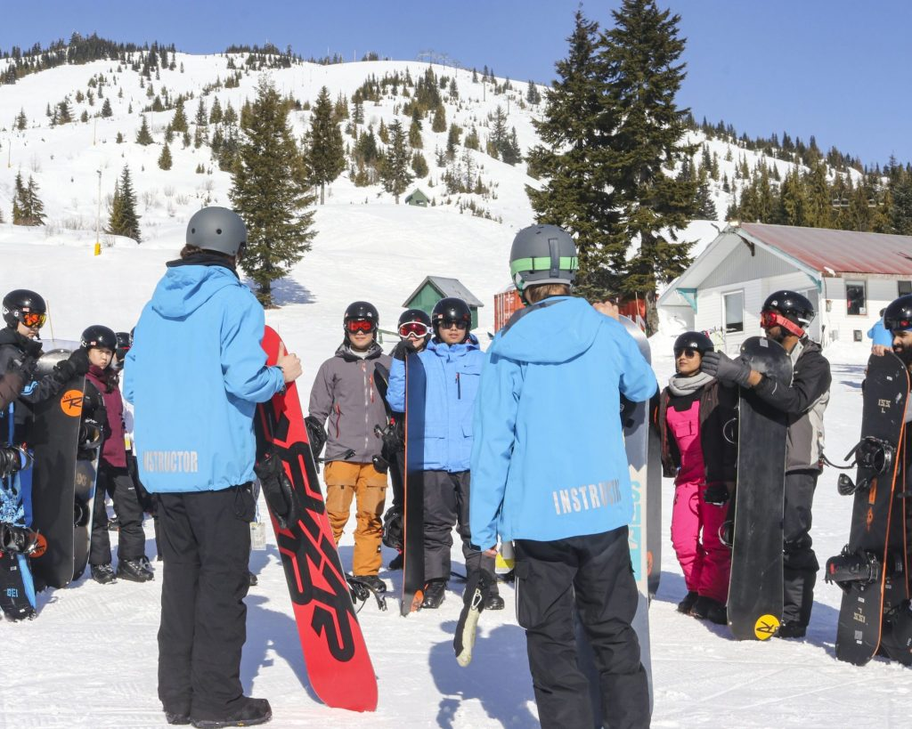 Instructors with their group about to start lessons, at Sasquatch Mountain