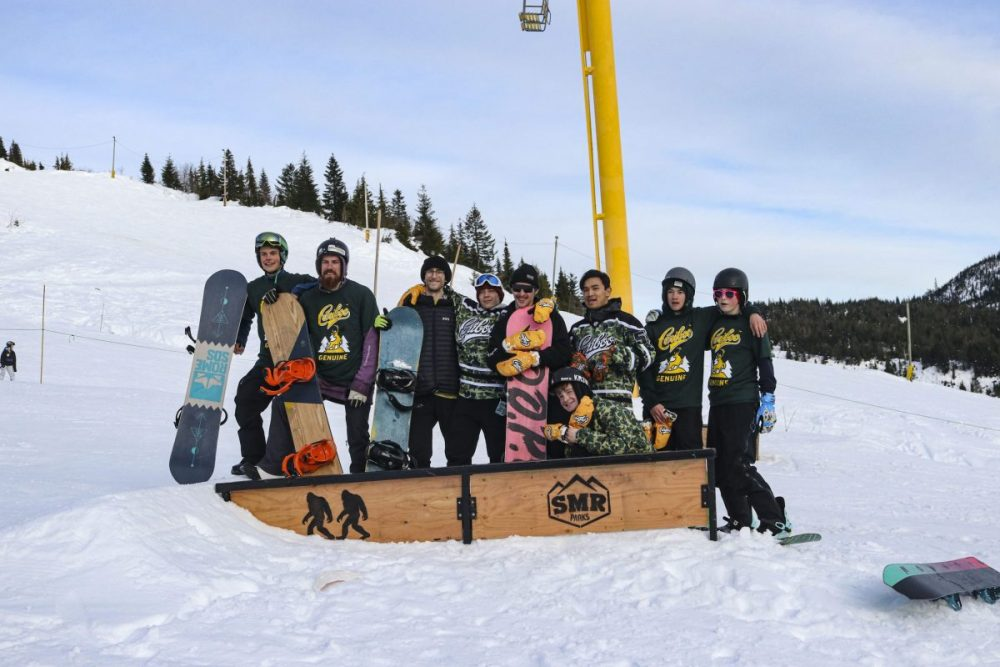 Staff members in the terrain park under Whistle Punk chair at Sasquatch Mountain