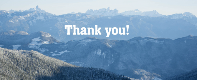 A thank you message amongst mountains