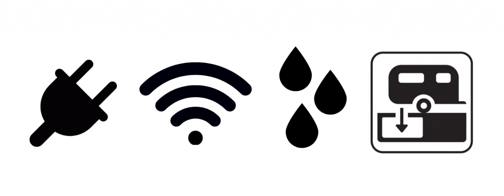 Icons that represent some of the benefits of camping at Sasquatch Mountain