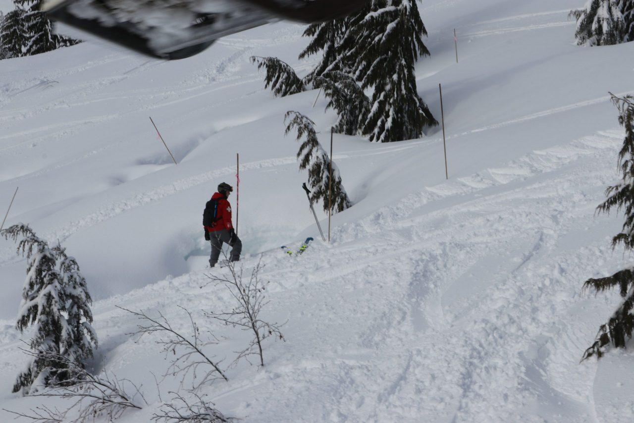 Patroller sweeping the mountain at Sasquatch Resort