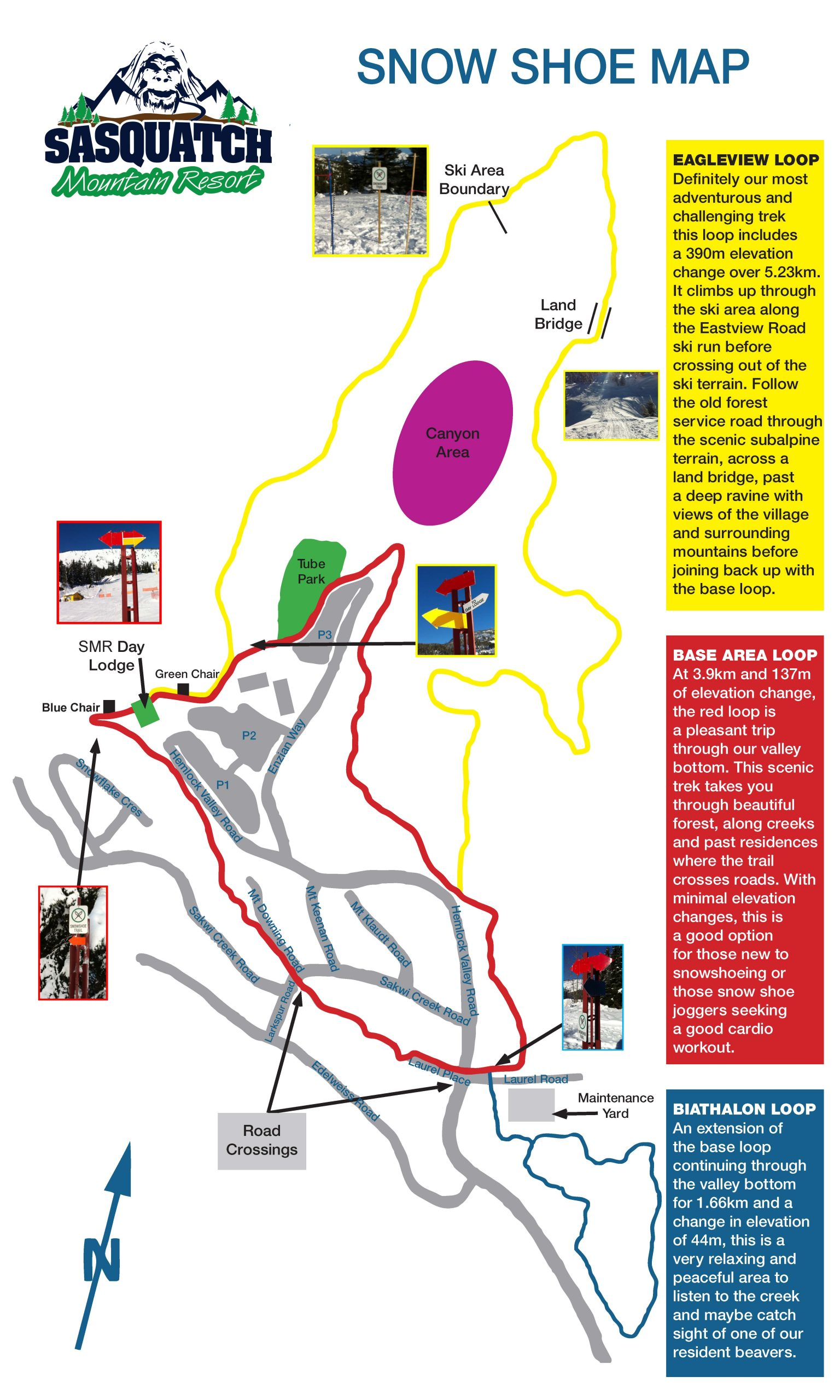 Snowshoe trail map at Sasquatch Mountain Resort